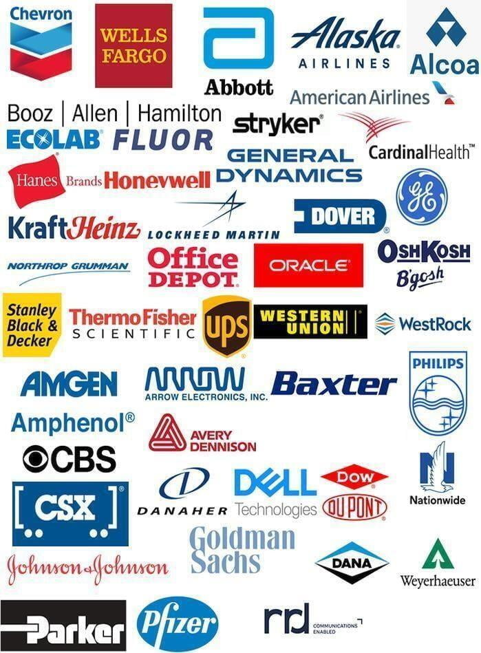 Fortune 500 Clients, Chevron, wells fargo, abbott, Alaska Airlines, Alcoa, Booz Allen Hamilton, Stryker, American Airlines, Ecolab, fluo, general dynamics, cardinal health, hanes, honeywell, kraft, heinz, lockheed martin, dover, general electric, northrop gruman, office depot, oracle, oshkosh, stanley, Black & decker, ThermoFisher SCientific, UPS, Western Union, Westrock, amgen,arrow electronics, baxter, philips, amphenol, avery dennison, boing, CBS, CSX, Danaher, Dell, Down Dupont, NAtionwide, JOhnson & Johnson, Goldman Sachs, Dana, Weyerheuser, parker, pfizer